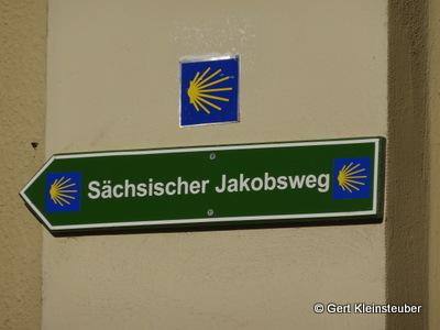 Wegweiser sächsischer Jakobsweg in Dresden