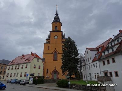 der Markt und die Stadtkirche von Oederan