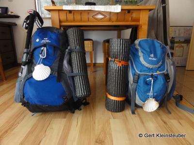 links meiner, rechts Andrea´s Rucksack