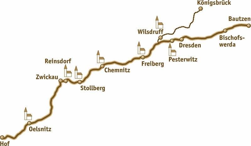 der sächsische Jakobsweg an der Frankenstraße (Quelle: http://www.saechsischer-jakobsweg.de/)